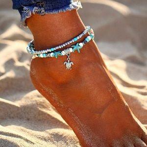 Jewelry - Boho Silver Turquoise Starfish Ankle Bracelets